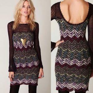 Free People Chevron Fitted Knit Sweater Dress (XS)